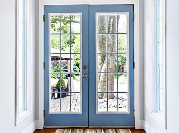 new door replacement facing tree and backyard