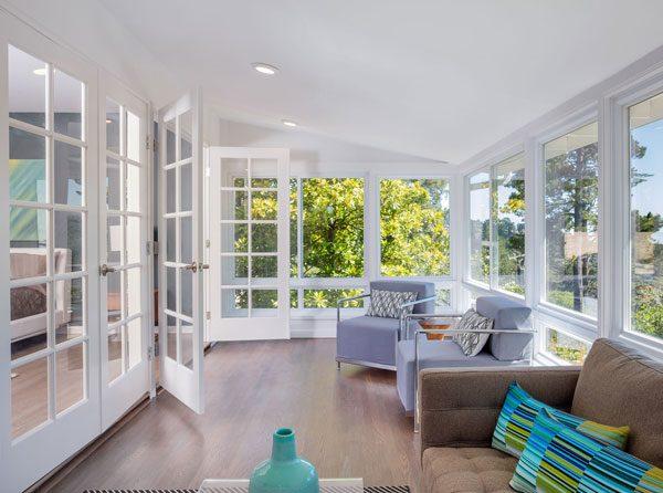 sunroom with new windows and doors