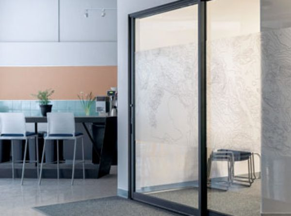 modern sliding glass door in contemporary style home