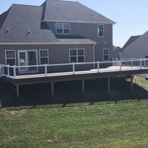 backyard deck on large home with asphalt shingles and grass backyard